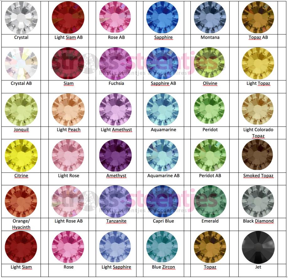 Hotfix strass steentjes kleurenkaart